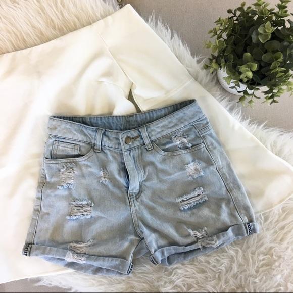 Ellison Pants - Ellison Distressed Light Wash Denim Shorts