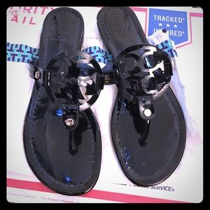 Tory Burch Shoes - Tory Burch black patent Miller sandals 7.5