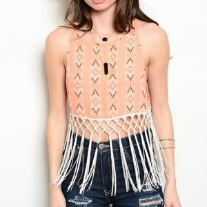 Tops - 🆕Coral tribal print crop fringe tank
