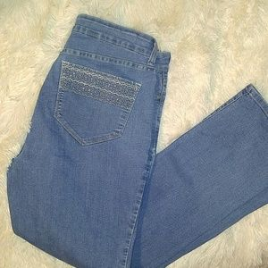 NYDJ Denim - NYDJ Straight Leg Embellished Pocket Jeans