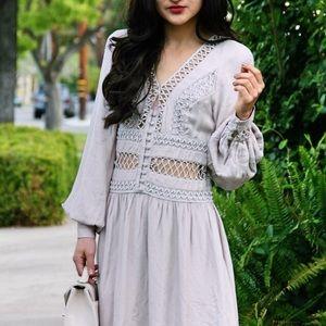 {free people} 🌿 lattice bohemian taupe dress