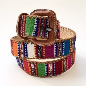 Accessories - Colorful Woven Santa Fe Style Leather Belt❤️