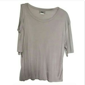 Acne Tops - Acne cold shoulder silver tee