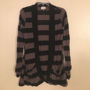 Black Stripe Open Cardigan Sweater Punk Grunge