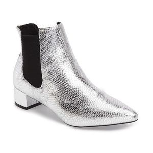 Silver snake print TopShop ankle boots