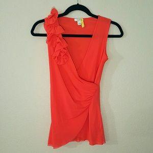 Cache Tops - Ruffled Wrap Style Sleeveless Blouse
