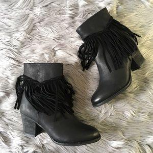 Sbicca Shoes - Black fringe bootie