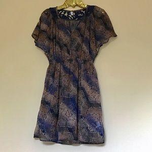 Xhilaration • Navy + Brown Flutter Sleeve Dress