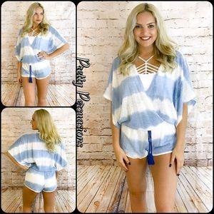 Pretty Persuasions Pants - NWT Blue & White Tie Dyed Smock Waist Romper
