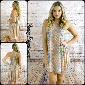 Pretty Persuasions Dresses & Skirts - NWT Lace Trim Printed Flirty Swing Dress