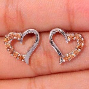 Elbon Boutique Jewelry - Morganite Silver Filled Heart Earrings