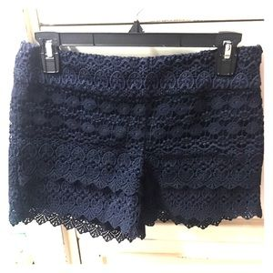 Navy blue lace shorts -00