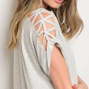 Tops - Grey Caged Shoulder Top