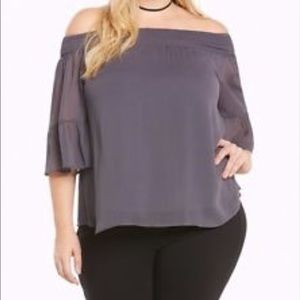 Plus Gray Off Shoulder Chiffon Top 3X