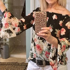 Choies Tops - Floral off the shoulder summer top blouse
