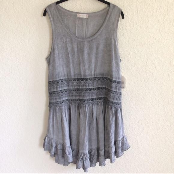 403f8b18ac8 NWT Altar d State Gray Tiedye Lace Ruffle Dress
