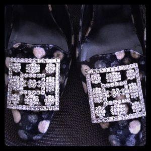 Manolo Blahnik Shoes - Manolo Blahnik Velvet Mules with Rhinestone detail