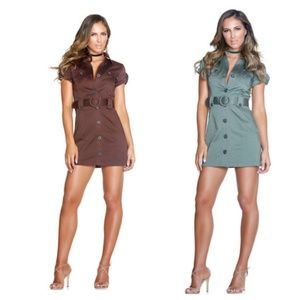 Short sleeve utility dress with pocket detail