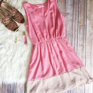 Dresses & Skirts - ☀️Pink and tan color block chiffon overlay dress