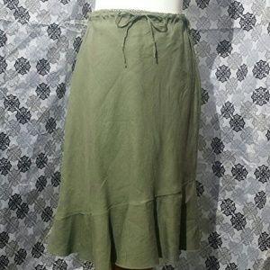 Army Green Linen  Skirt