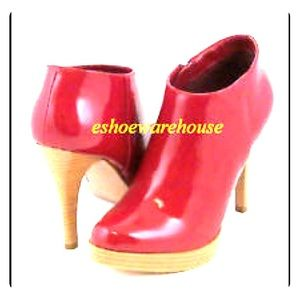 Shoes - Red Patent Leather Ankle Boots