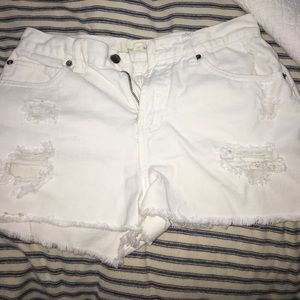 White jean high waisted shorts