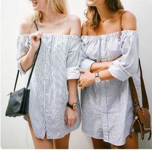 Zara off shoulder dress shirt M