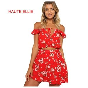 Haute Ellie Pants - Fresh Picked 2-PC Off Shoulder Top/Skirt Set