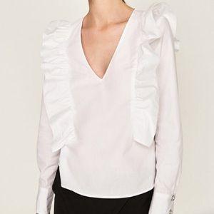 Zara v neck ruffled poplin top