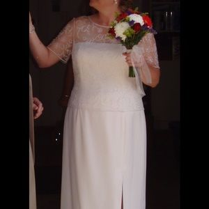 Michaelangelo Dresses & Skirts - BEAUTIFUL Off White Beaded Dress, Size 18