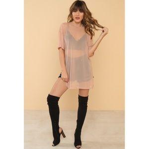 5bb47aade50d Lola Shoetique Tops   Blush Sheer Tshirt Dress Nwt   Poshmark