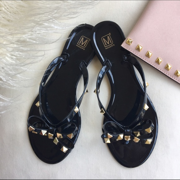 34 off shoes nwb valentino style studded jelly flip flops from samsara 39 s closet on poshmark. Black Bedroom Furniture Sets. Home Design Ideas