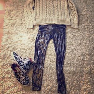 Bershka Pants - Shiny gunmetal silver leggings