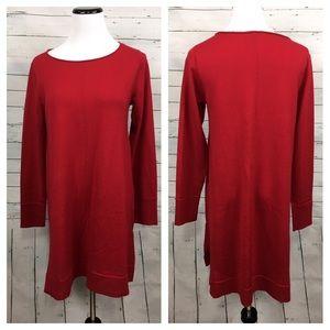 Eileen fisher merino wool sweater dress tunic red