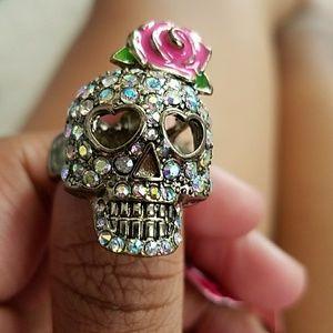 Betsey Johnson Skull Rhinestone Ring