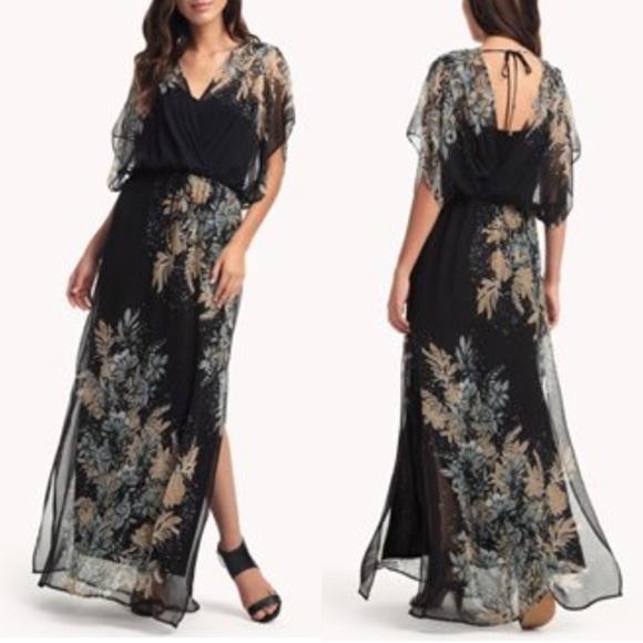 0ab7bd932ac NWT Ella Moss Black Floral Silk Maxi