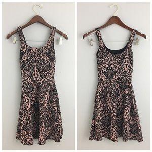 Bar III Dresses & Skirts - Bar lll Pink & Black Brocade Skate Stretch Dress