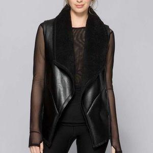 Alala Jackets & Blazers - Alala sherpa draped moto vest black XS