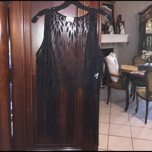 Black Poppy Other - Black lace fringe vest