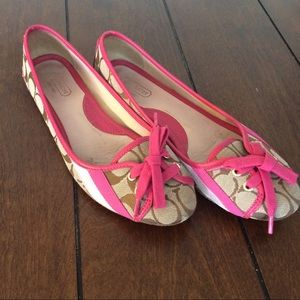 " sale Coach pink leather ""janelle"" flats"