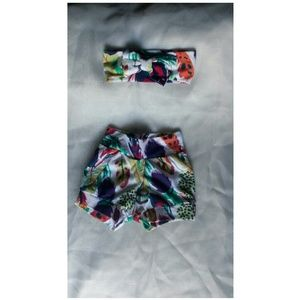 Baby girls painted feather short set