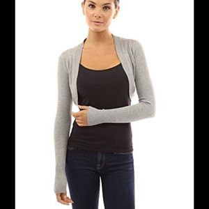 PattyBoutik Sweaters - Patty Boutik light gray bolero