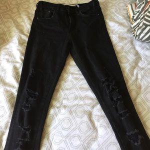 NWOT Zara black ripped skinny jeans
