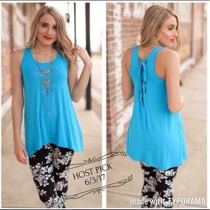 Turquoise Lace-Up Back Tunic