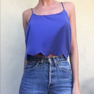 Tops - Blue Cropped Tank with Cute Bottom Detailing