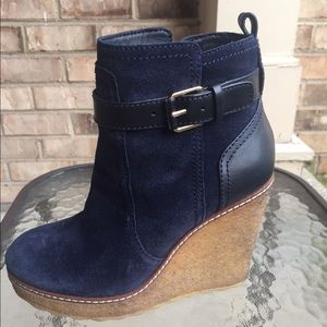 Tory Burch Shoes - Tory Burch Suede Blue Wedge Boots size 7