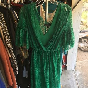 Robert Rodriguez green lace dress