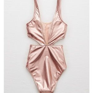 9523f59f09 aerie Swim - Aerie Rose Gold One Piece Swimsuit