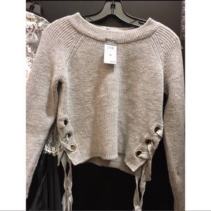 Grey Tie Up Sweater