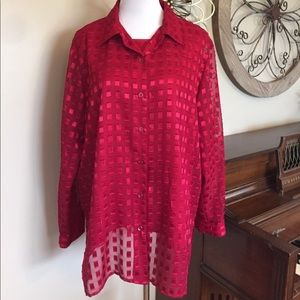 Notations Tops - Notations Size 1X Sparkling Sheer Blouse w/Shell